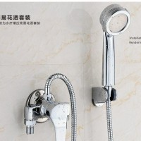 高标电镀明装淋浴花洒套装 全铜花洒 简易明管淋浴三档带下出水