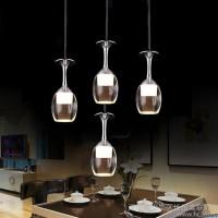 现代三头创意个性餐厅灯艺术酒杯LED水晶吊灯 吧台酒吧饭厅餐吊灯