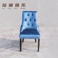 上海振腾家具 实木布艺沙发椅 水晶扣餐椅 新古典酒店椅 书房椅子