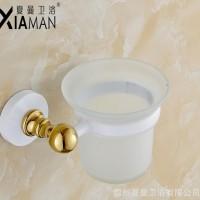 夏曼直销卫生间不锈钢马桶刷架玻璃杯架清洁套装浴室五金挂件