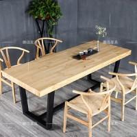 美式乡村铁艺实木办公桌复古做旧儿童书桌 实木餐桌椅组合可定制