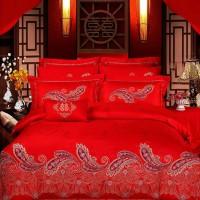 2016大红婚庆提花四件套结婚床上用品四件套C(可配六八九十件套