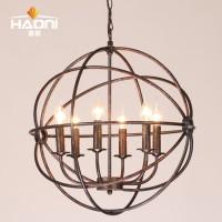 loft新款6头美式乡村灯蜡烛吊灯复古圆形铁艺餐厅书房灯酒吧