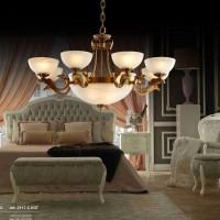鹤登全铜欧式吊灯奢华美式复古云石客厅灯饰简欧大气餐厅纯铜灯具