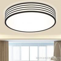 新品时尚客厅圆形led吸顶灯现代客厅亚克力吸顶灯黑白边框吸顶