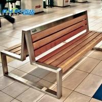 不锈钢公园椅防腐木坐凳 公园长椅排椅广场椅子园林椅