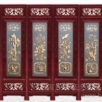 供应长城CH406紫铜浮雕红木六扇屏风-万寿长春折叠屏风