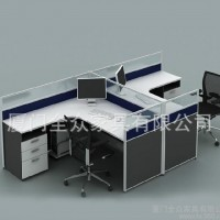 厦门办公家具屏风隔断简约办公桌4人位职员电脑桌屏风办公桌定制